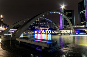 Colorful Letters With City Name In Toronto At A Rainy Evening