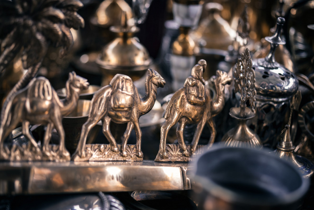 Golden Camel Statue At A Bazar In Kuwait City