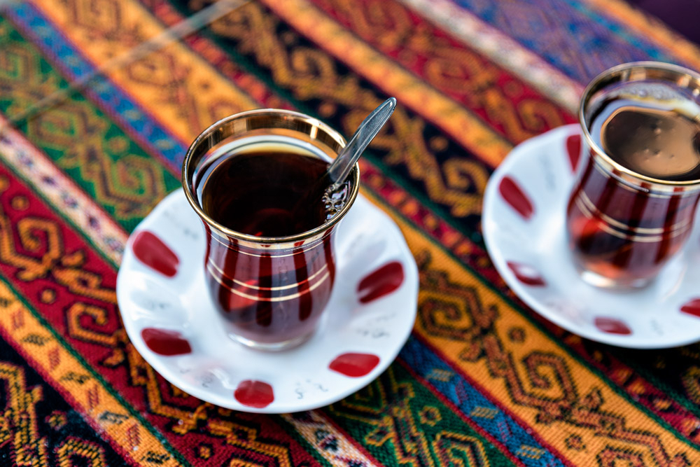Two Small Glasses Of Black Tea In Istanbul